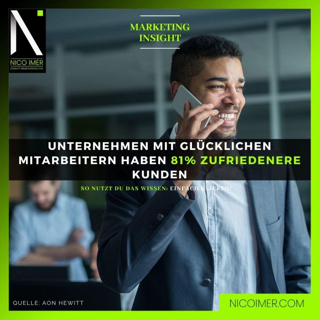 Marketing Insight: Unternehmen mit glücklichen Mitarbeitern haben 81% zufriedenere Kunden.